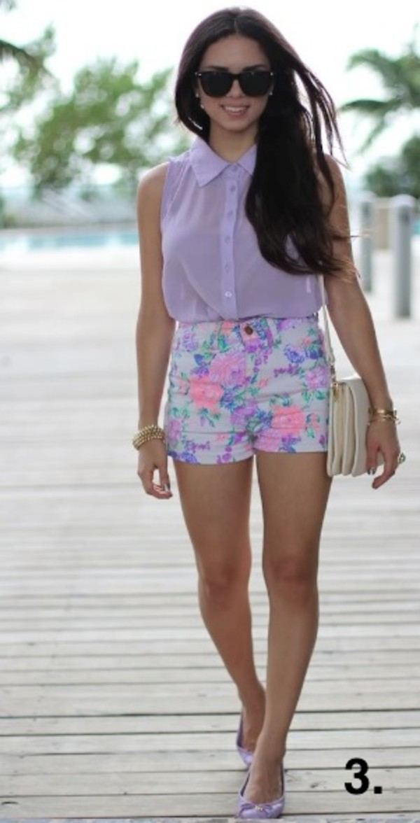 shorts blouse purple