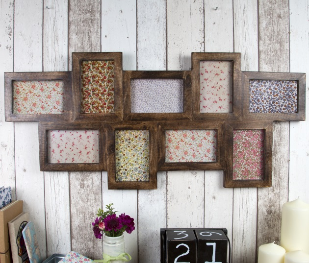 nine multi photo frame in dark wood wedding gifts sass belle - Multi Picture Frames