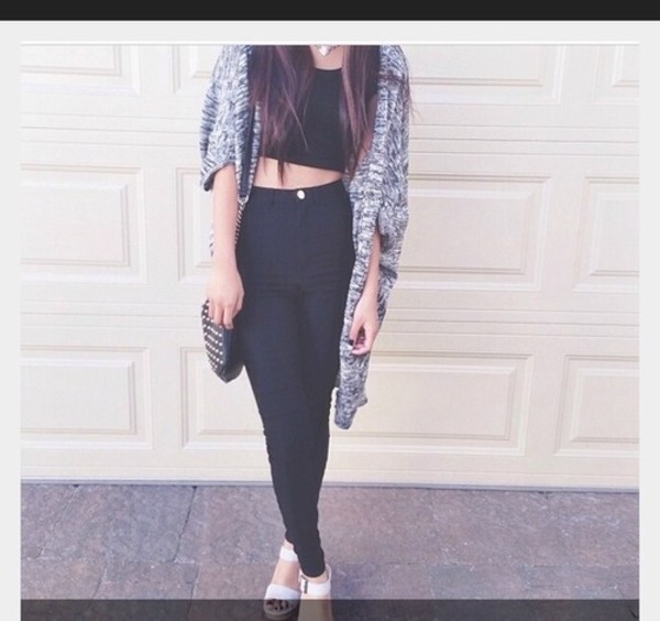 bag crop tops cardigan shirt