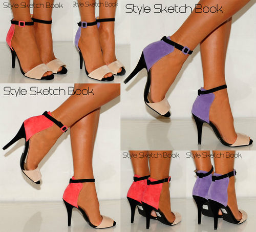 LADIES WOMENS ANKLE CUFF COLOUR BLOCK STRAPPY PEEP TOE STILETTO HIGH HEELS SHOES | Amazing Shoes UK