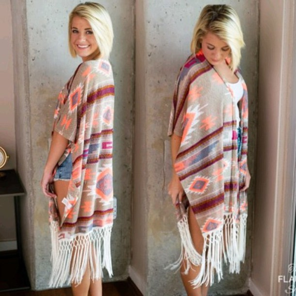 cardigan the flaunt shop poncho sweater fall outfits tan burgundy aztec tribal pattern fringes spanish hispanic mexican southern south ootd blouse
