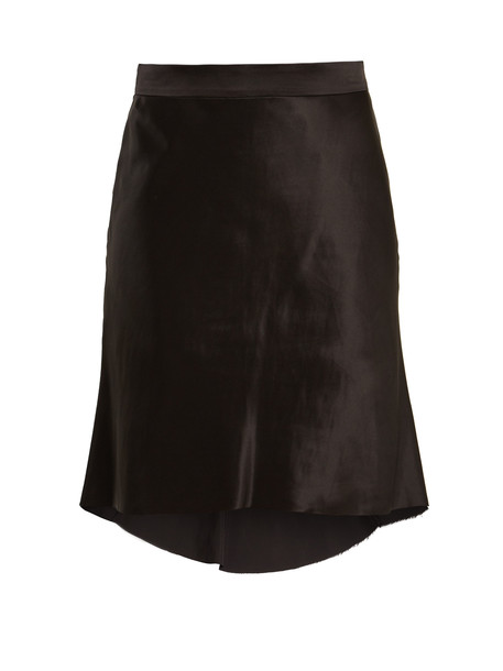 RAEY Bias godet silk-satin slip skirt in black