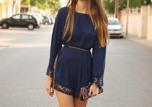 dress romper blue jumpsuit lace shorts navy blue tumblr
