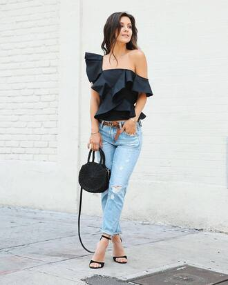 top ruffled top tumblr black top ruffle asymmetrical asymmetrical top denim jeans blue jeans sandals sandal heels high heel sandals round tote bag shoes