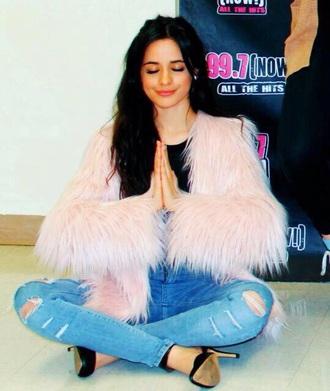fur beautiful camila cabello fur coat coat pink coat pink swag 2015