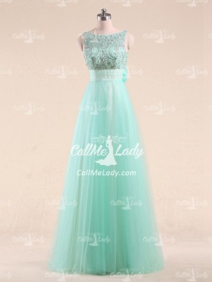 Mint Green High Neck Beading Long Prom Dresses with Bowknot - CallMeLady