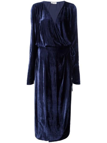 dress midi dress women midi draped blue silk