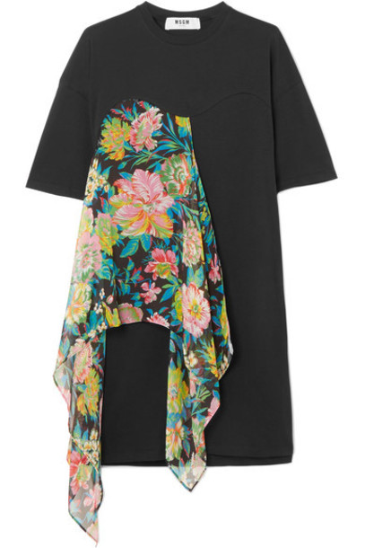 MSGM dress jersey dress chiffon floral cotton print black