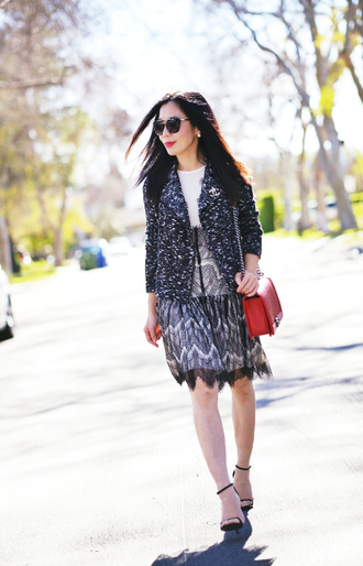 hallie daily blogger red bag blazer lace dress sandals