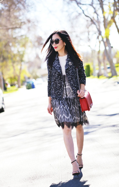 hallie daily blogger red bag blazer lace dress sandals dress jacket bag sunglasses shoes jewels