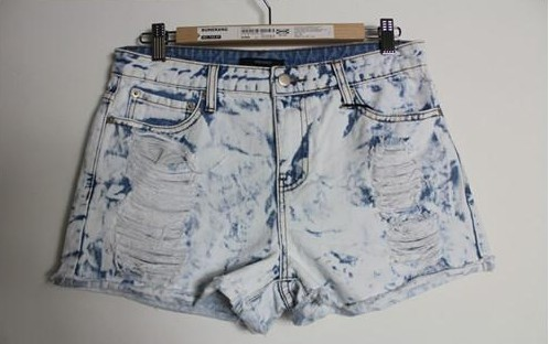 Free shipping fashion HARAJUKU zipper soft bleach retro finishing mid waist denim shorts hole roll up hem-inShorts from Apparel & Accessories on Aliexpress.com