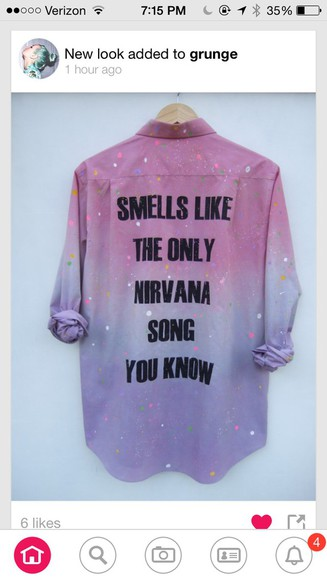 nirvana grunge button down shirt