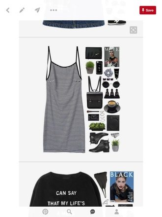 dress striped dress tank dress black and white