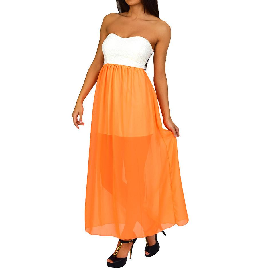 Ivory Neon Orange Color-Block Maxi Dress | Emprada