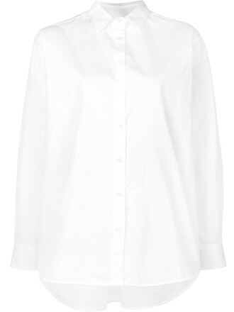 shirt button down shirt women white cotton top