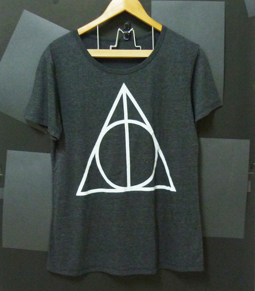 harry potter deathly hallows t-shirt triangle tshirt graphic shirt