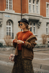 the fashion fraction,blogger,jacket,sweater,skirt,shoes,bag,hat,jewels,winter outfits,teddy bear coat,orange sweater