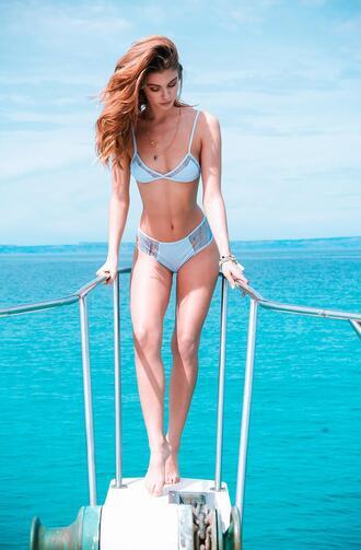 swimwear revel rey bikini bikini top mesh mesh insert print blue orange designer top