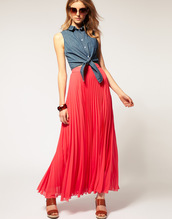 coral,maxi skirt,pleated,skirt