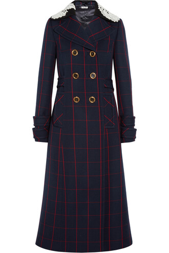coat wool coat lace wool navy