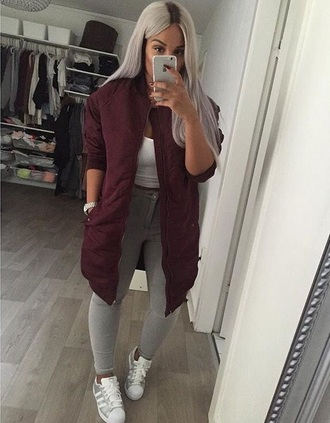 coat long bomber jacket shoes jacket hair grey girl teenagers beautiful gorgeous style fashion swag iphone outfit love burgundy jacket bomber jacket navy vue boutique vintage oversized bomber jacket pants top