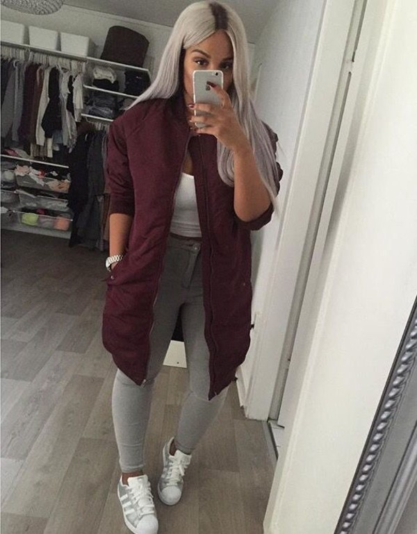 Coat long bomber jacket shoes jacket hair grey girl teenagers beautiful gorgeous style ...