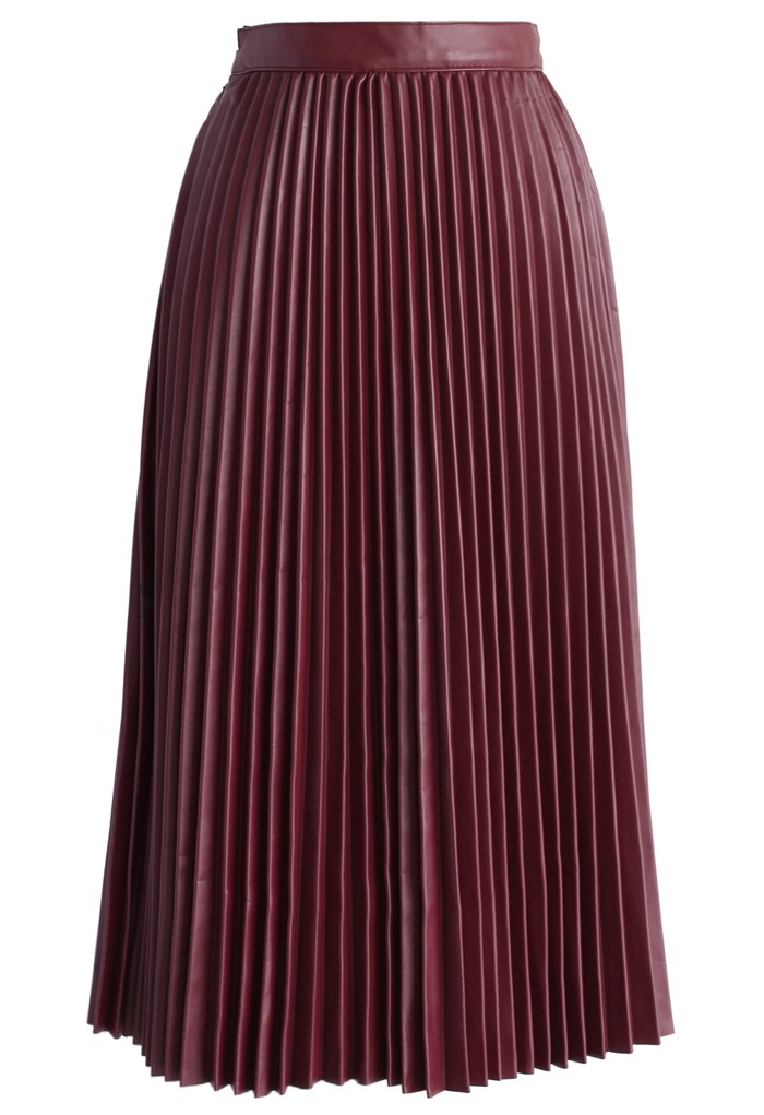 Red Wine Pleated Faux Leather Midi Skirt