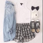 shorts,blouse,hair accessory,jacket,jeanjacket,summer shorts,grunge jean jacket,shirt,black,white,tumblr,love,tank top,top