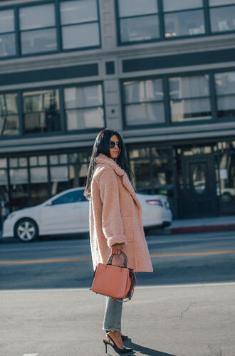 coat tumblr pink coat teddy bear coat shoes black shoes slingbacks high heels heels bag pink bag sunglasses