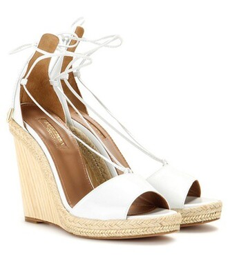 sandals wedge sandals leather white shoes