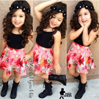 skirt girl toddler girly kids fashion boots spike boots combat boots skater skirt floral skirt floral headband flower crown shirt shoes