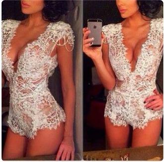 jumpsuit lace lingerie lace bodysuit lace romper lace sheer lingerie sexy lace romper white lace white romper see through