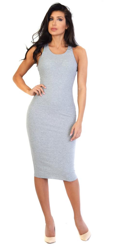 Glamorous grey ribbed midi dress