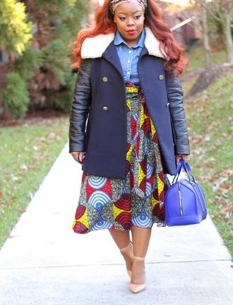 naja diamond blogger coat bag curvy african print winter coat midi skirt