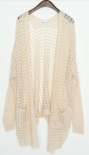 Apricot Long Sleeve Pocket Open Stitch Mesh Cardigan - Sheinside.com
