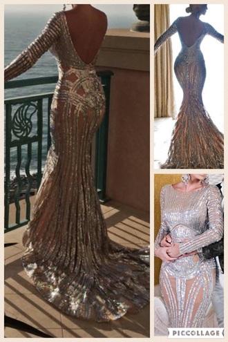 dress celebrity style celebrity long dress long sleeves evening dress sequin dress gown silver dress