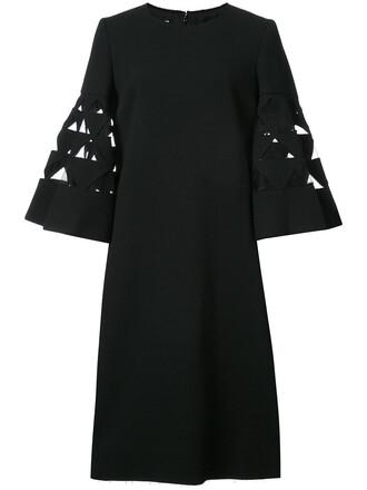 dress flare women spandex black wool