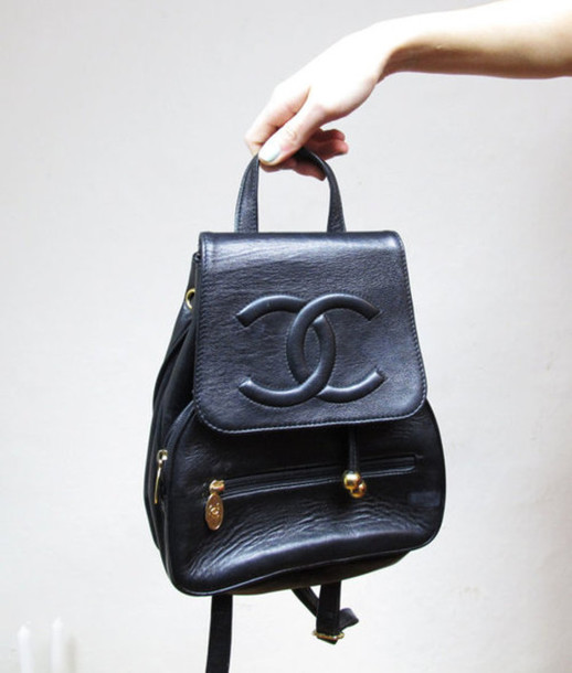 b40165b51eb5 bag chanel beautiful leather black embossed backpack vintage black bag  details chanel inspired sac à dos
