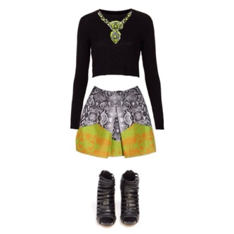 skirt chic stylish black white grey orange green snake skin cute jewels shorts