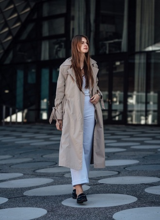 coat camel coat long coat pants white pants shoes mules black shoes trench coat