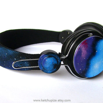 New space galaxy nebula custom headphones earphones hand painted on wanelo