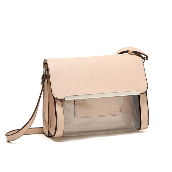 Transparent flaps khaki bag