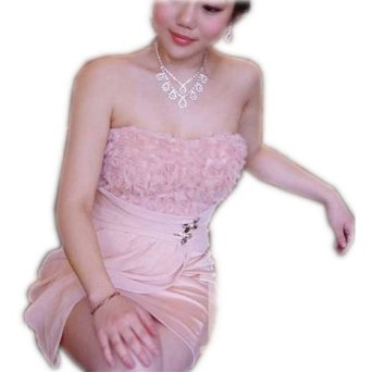 Amazon.com: Rose Lace Satins Wear Strapless Stretchy Party Dress Pink: Clothing