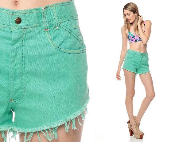 Green high waisted jean shorts