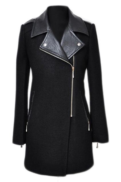 ROMWE | Romwe Panel Faux Leather Black Woolen Coat, The Latest Street Fashion
