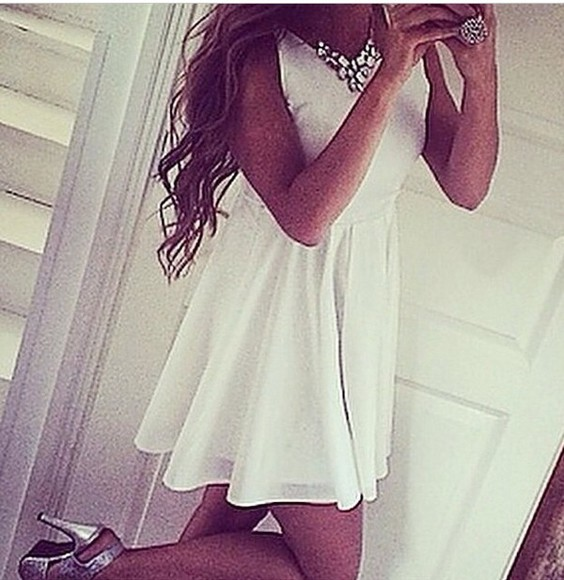dress white dress white outfit cream girly fashion