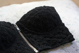 shirt black zipper lace bralette