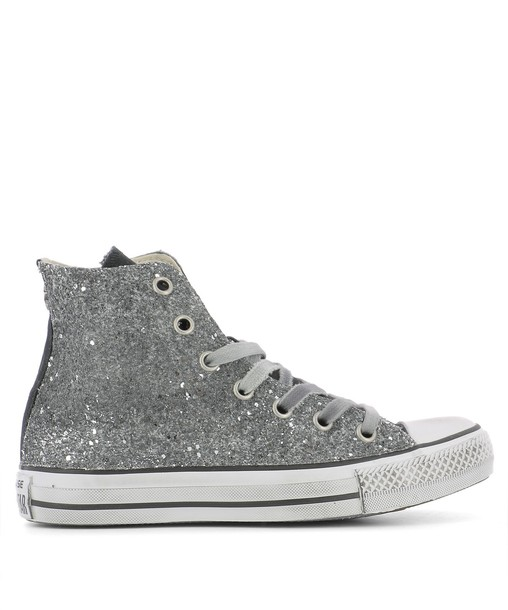 converse sneakers silver leather shoes