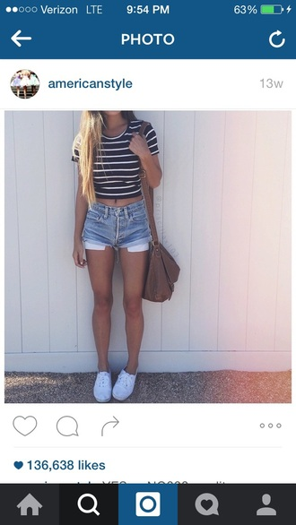 shorts denim shorts crop tops striped top cute vans black and white striped top short shorts white black and white stripes