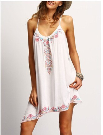 dress girly girl girly wishlist summer dress white dress chiclook closet embroidered boho spaghetti strap fashion style casual trendy white